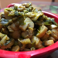 Spring Onions Mushroom Sabzi (Spring Onions Mushrooms Stir Fry ) - Lunch or Dinner Recipe