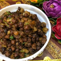 Dry Kale Channa with Sweet Potatoes - Navratri Special