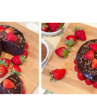 Chocolate Strawberry Cake | Chocolate Cake With Greek Yogurt ( Curd ) | No Egg No Butter No APF No Oven Cake | Pressure Cooker Baking with Whole Wheat Flour