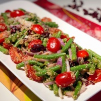 Crunchy French Beans Salad | French Beans Tomato Salad With Roasted Coconut, Sweet Dried Red Cranberries and Lemon Dressing