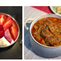 Achari Mushroom Soybeans (Edamame) Curry | Tomato Red Capcicum Based Curry | Pickle Flavored Curry
